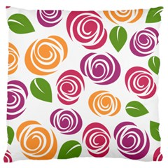 Colorful Seamless Floral Flowers Pattern Wallpaper Background Large Cushion Case (one Side)