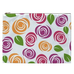 Colorful Seamless Floral Flowers Pattern Wallpaper Background Cosmetic Bag (xxl)