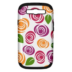 Colorful Seamless Floral Flowers Pattern Wallpaper Background Samsung Galaxy S Iii Hardshell Case (pc+silicone)