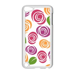 Colorful Seamless Floral Flowers Pattern Wallpaper Background Apple iPod Touch 5 Case (White)