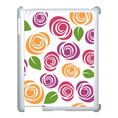 Colorful Seamless Floral Flowers Pattern Wallpaper Background Apple iPad 3/4 Case (White)