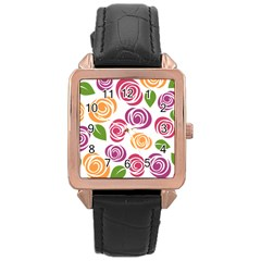 Colorful Seamless Floral Flowers Pattern Wallpaper Background Rose Gold Leather Watch