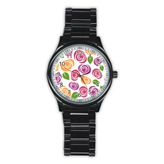 Colorful Seamless Floral Flowers Pattern Wallpaper Background Stainless Steel Round Watch
