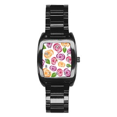 Colorful Seamless Floral Flowers Pattern Wallpaper Background Stainless Steel Barrel Watch