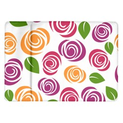 Colorful Seamless Floral Flowers Pattern Wallpaper Background Samsung Galaxy Tab 10 1  P7500 Flip Case