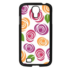 Colorful Seamless Floral Flowers Pattern Wallpaper Background Samsung Galaxy S4 I9500/ I9505 Case (black)