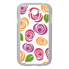 Colorful Seamless Floral Flowers Pattern Wallpaper Background Samsung Galaxy Grand Duos I9082 Case (white)