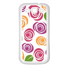 Colorful Seamless Floral Flowers Pattern Wallpaper Background Samsung Galaxy S3 Back Case (white)