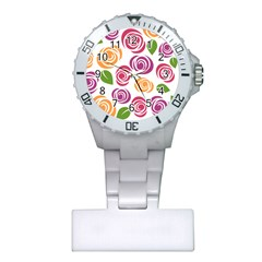 Colorful Seamless Floral Flowers Pattern Wallpaper Background Plastic Nurses Watch