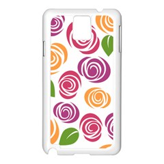 Colorful Seamless Floral Flowers Pattern Wallpaper Background Samsung Galaxy Note 3 N9005 Case (white)