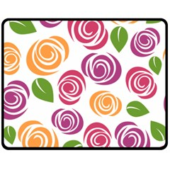Colorful Seamless Floral Flowers Pattern Wallpaper Background Double Sided Fleece Blanket (medium)