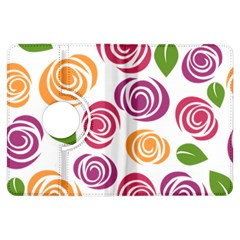 Colorful Seamless Floral Flowers Pattern Wallpaper Background Kindle Fire HDX Flip 360 Case