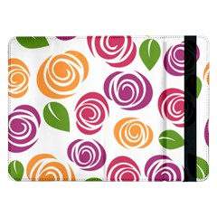 Colorful Seamless Floral Flowers Pattern Wallpaper Background Samsung Galaxy Tab Pro 12 2  Flip Case