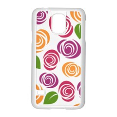 Colorful Seamless Floral Flowers Pattern Wallpaper Background Samsung Galaxy S5 Case (white)