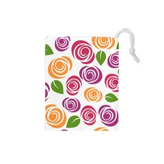 Colorful Seamless Floral Flowers Pattern Wallpaper Background Drawstring Pouches (small)