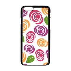 Colorful Seamless Floral Flowers Pattern Wallpaper Background Apple Iphone 6/6s Black Enamel Case