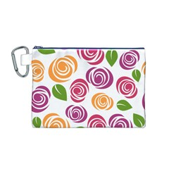 Colorful Seamless Floral Flowers Pattern Wallpaper Background Canvas Cosmetic Bag (m)