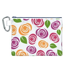 Colorful Seamless Floral Flowers Pattern Wallpaper Background Canvas Cosmetic Bag (l)