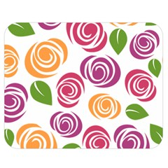 Colorful Seamless Floral Flowers Pattern Wallpaper Background Double Sided Flano Blanket (medium)