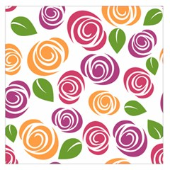 Colorful Seamless Floral Flowers Pattern Wallpaper Background Large Satin Scarf (Square)