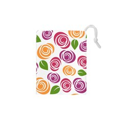 Colorful Seamless Floral Flowers Pattern Wallpaper Background Drawstring Pouches (xs)