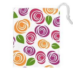 Colorful Seamless Floral Flowers Pattern Wallpaper Background Drawstring Pouches (XXL)
