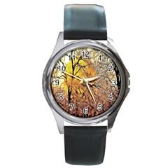 Summer Sun Set Fractal Forest Background Round Metal Watch