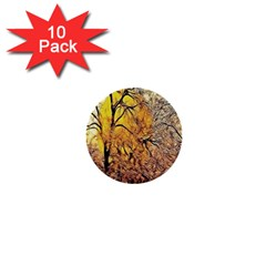 Summer Sun Set Fractal Forest Background 1  Mini Buttons (10 Pack)