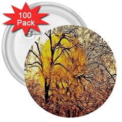 Summer Sun Set Fractal Forest Background 3  Buttons (100 Pack)