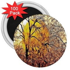 Summer Sun Set Fractal Forest Background 3  Magnets (100 Pack)