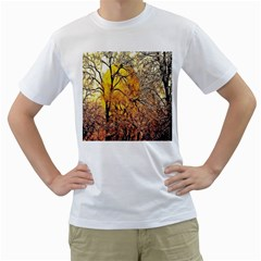 Summer Sun Set Fractal Forest Background Men s T Shirt (white) (two Sided)
