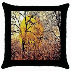 Summer Sun Set Fractal Forest Background Throw Pillow Case (black)