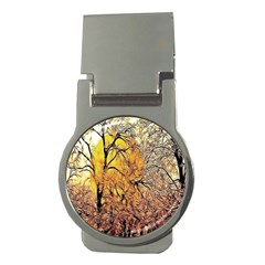 Summer Sun Set Fractal Forest Background Money Clips (round)