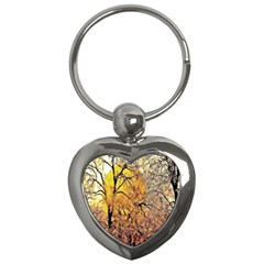 Summer Sun Set Fractal Forest Background Key Chains (heart)