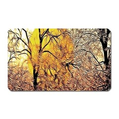 Summer Sun Set Fractal Forest Background Magnet (rectangular)
