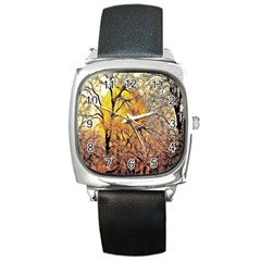 Summer Sun Set Fractal Forest Background Square Metal Watch
