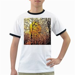 Summer Sun Set Fractal Forest Background Ringer T Shirts