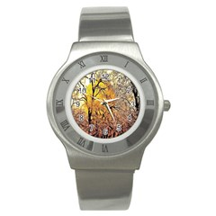 Summer Sun Set Fractal Forest Background Stainless Steel Watch