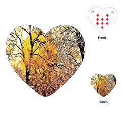 Summer Sun Set Fractal Forest Background Playing Cards (heart)