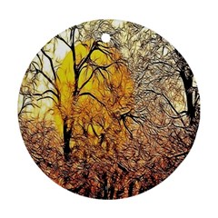 Summer Sun Set Fractal Forest Background Round Ornament (two Sides)