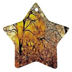 Summer Sun Set Fractal Forest Background Star Ornament (two Sides)