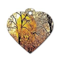 Summer Sun Set Fractal Forest Background Dog Tag Heart (one Side)