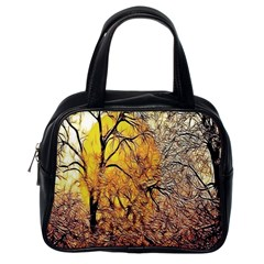 Summer Sun Set Fractal Forest Background Classic Handbags (one Side)