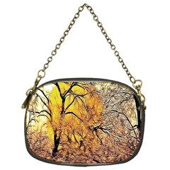 Summer Sun Set Fractal Forest Background Chain Purses (one Side)