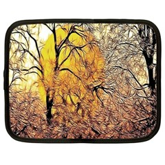 Summer Sun Set Fractal Forest Background Netbook Case (XXL)