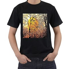 Summer Sun Set Fractal Forest Background Men s T Shirt (black)