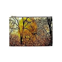 Summer Sun Set Fractal Forest Background Cosmetic Bag (medium)
