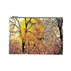 Summer Sun Set Fractal Forest Background Cosmetic Bag (Large)