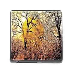 Summer Sun Set Fractal Forest Background Memory Card Reader (square)