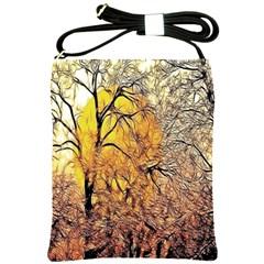 Summer Sun Set Fractal Forest Background Shoulder Sling Bags